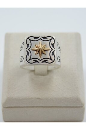 Swarovski Kutup Yıldızı Desenli 925 Ayar Gümüş Erkek Yüzük
