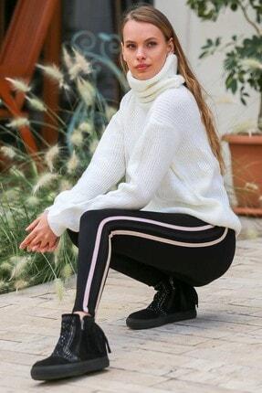 Chiccy Kadın Gold Pembe Siyah Şeritli Çelik İnterlok Tayt C10060000PN99260