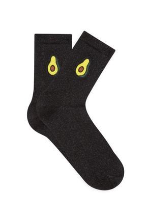 Mavi Siyah Soket Çorap
