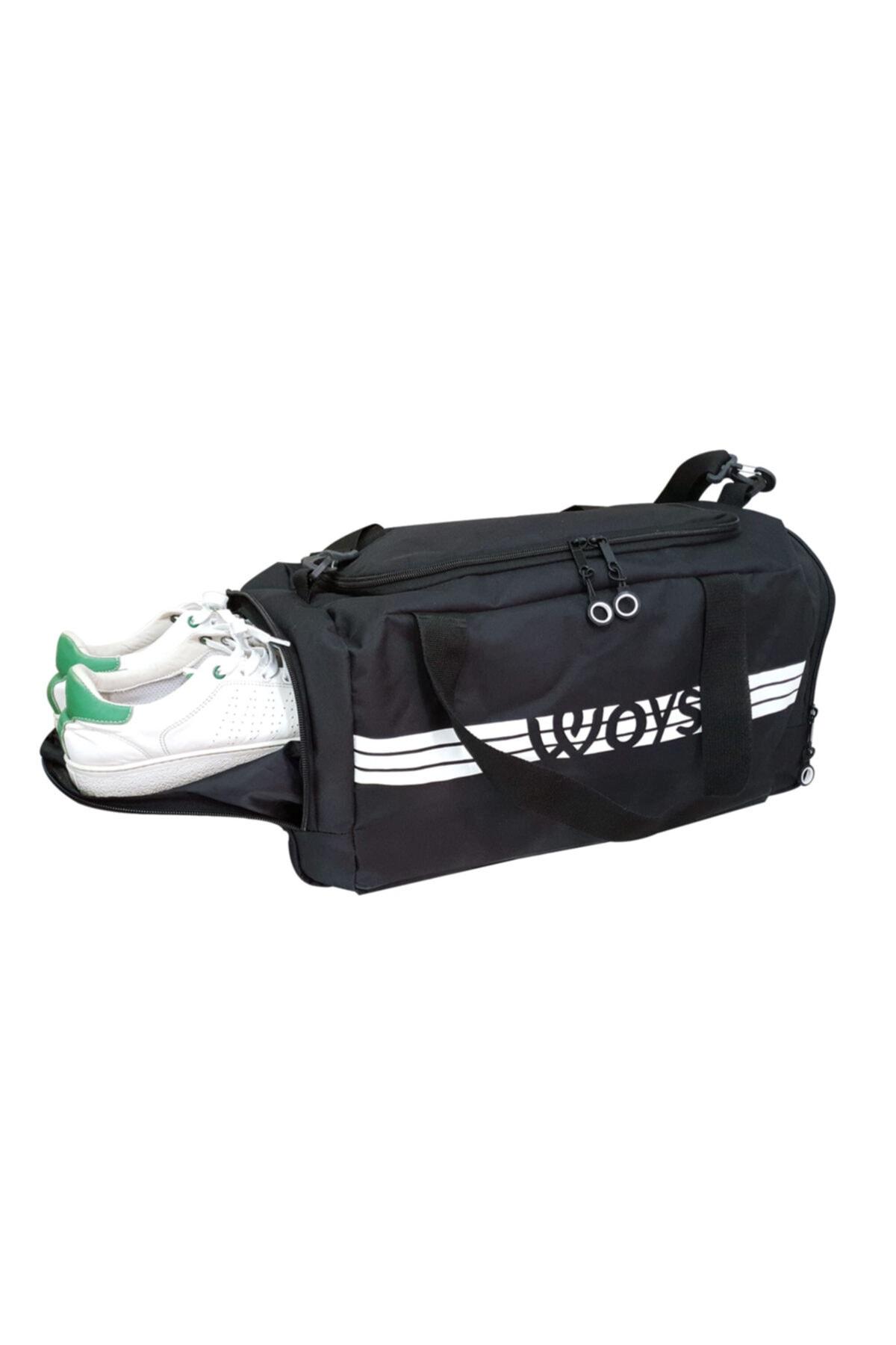 woys Unisex Siyah Bölmeli Sporcu Çantası 2