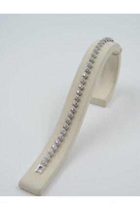 Swarovski KadınGümüş  Beyaz Zirkon Taşlı Yucarlak Desenli 925 Ayar Bileklik