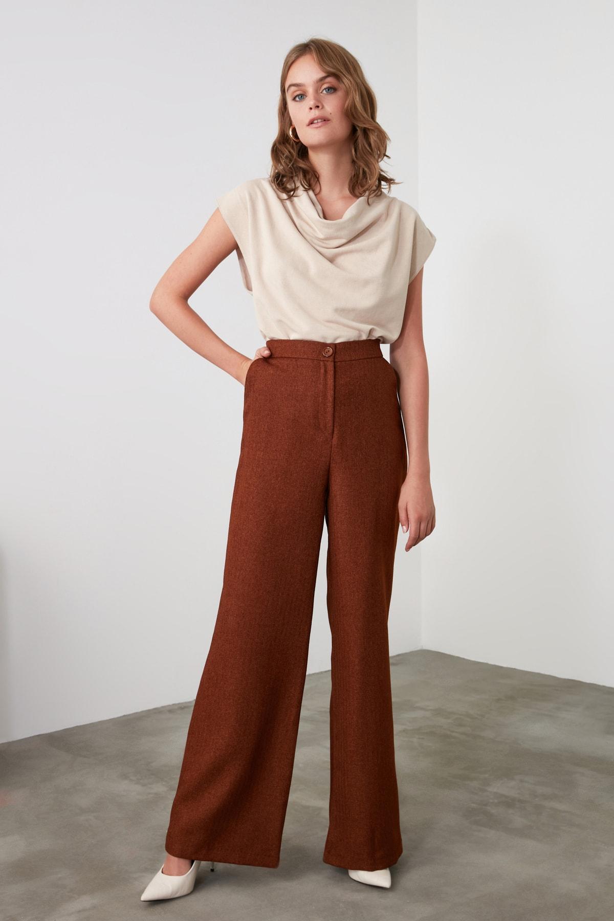 TRENDYOLMİLLA Camel Cepli Pantolon TWOAW20PL0309 1
