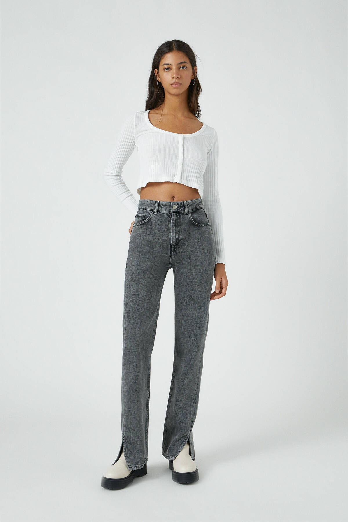 Pull & Bear Kadın Gri Yüksek Bel Straight Fit Jean 09683410