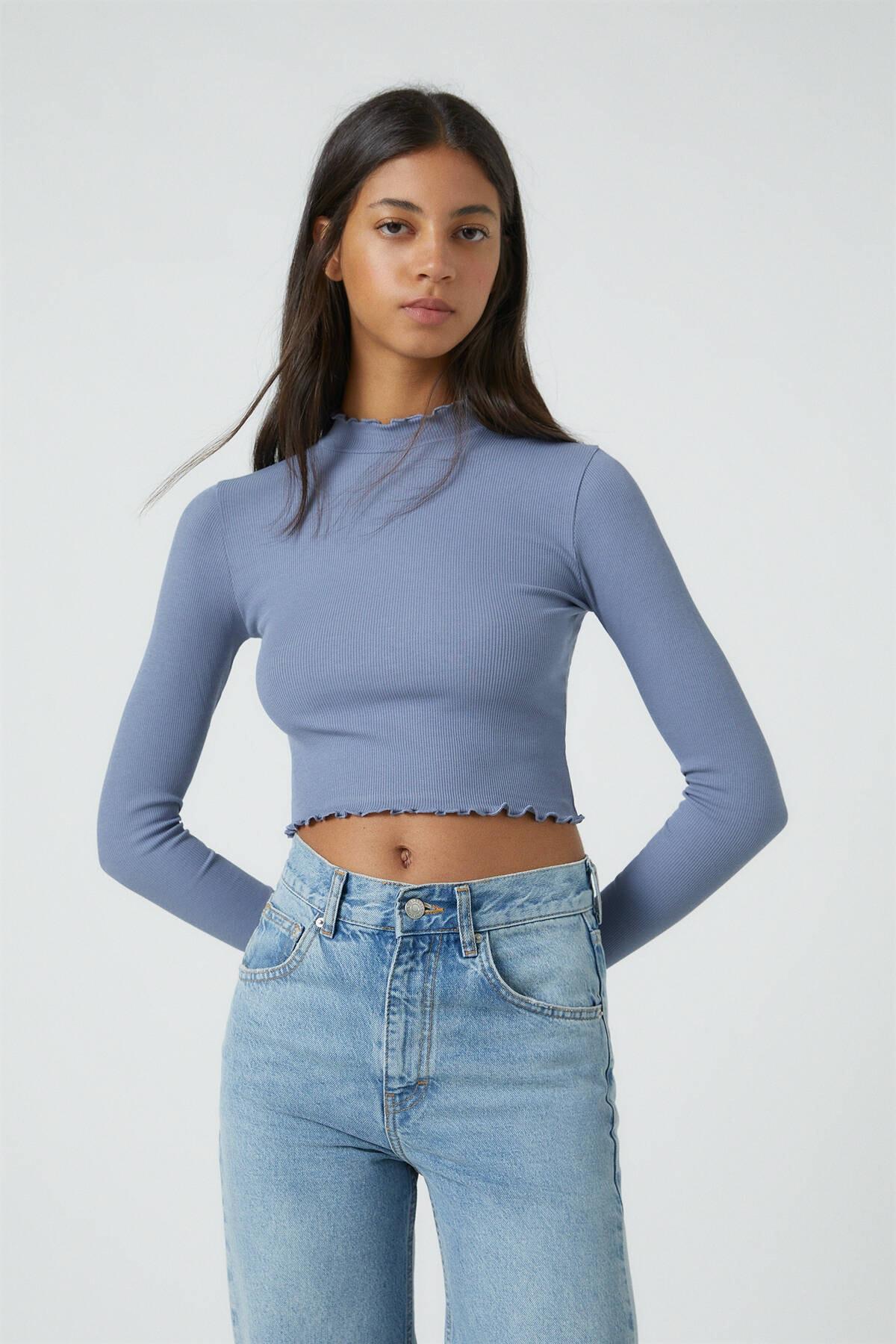 Pull & Bear Kadın Koyu Lacivert Kıvrımlı Kenarlı Uzun Kollu T-Shirt 09249310