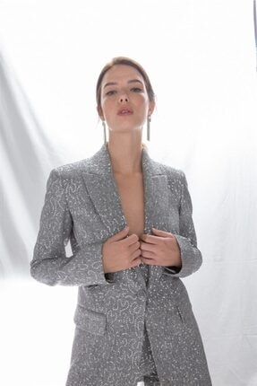 rue. Kadın Gri Tek Düğmeli Payet Ceket