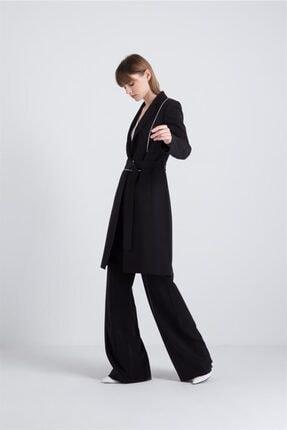 rue. Kadın Siyah Kontrast Biyeli Uzun Ceket