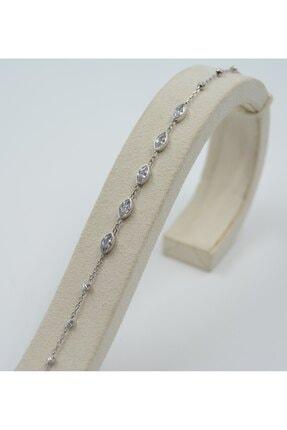 Swarovski Kadın 925 Ayar Gümüş Damla Desenli Zirkon Taşlı  Bileklik