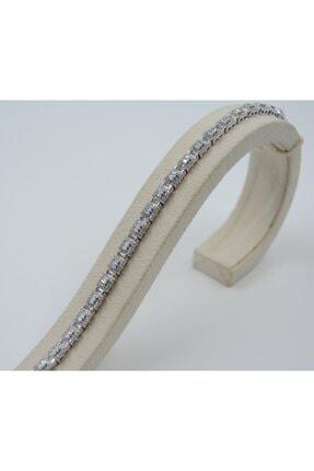 Swarovski Beyaz Zirkon Taşlı Kare 925 Ayar Gümüş Kadın Bileklik