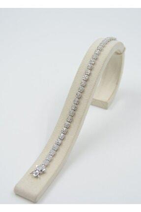 Swarovski Kadın Beyaz Zirkon Taşlı  Gümüş Bileklik