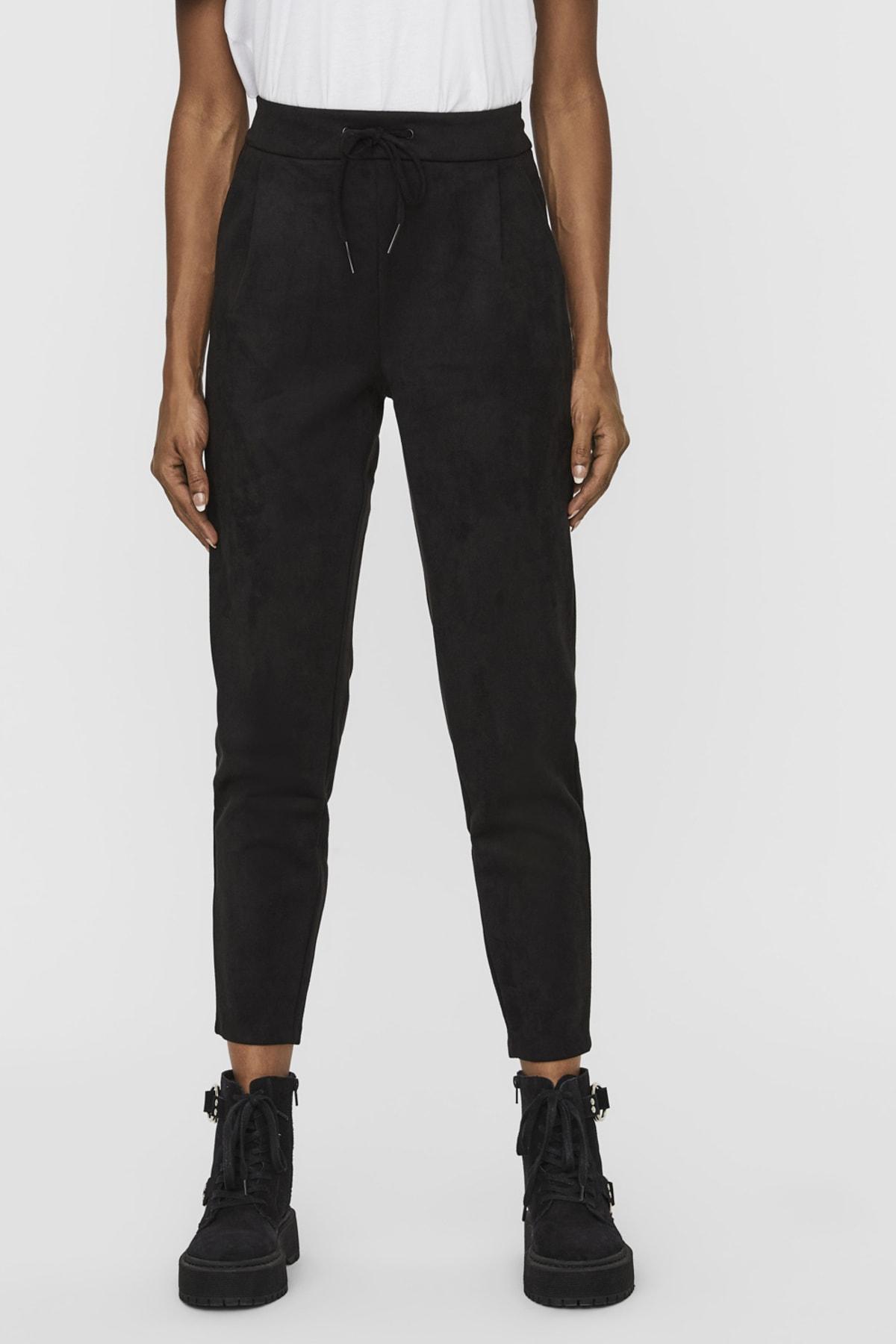 Vero Moda Kadın Siyah Süet İpli Pantolon 10225615 VMEVA 2