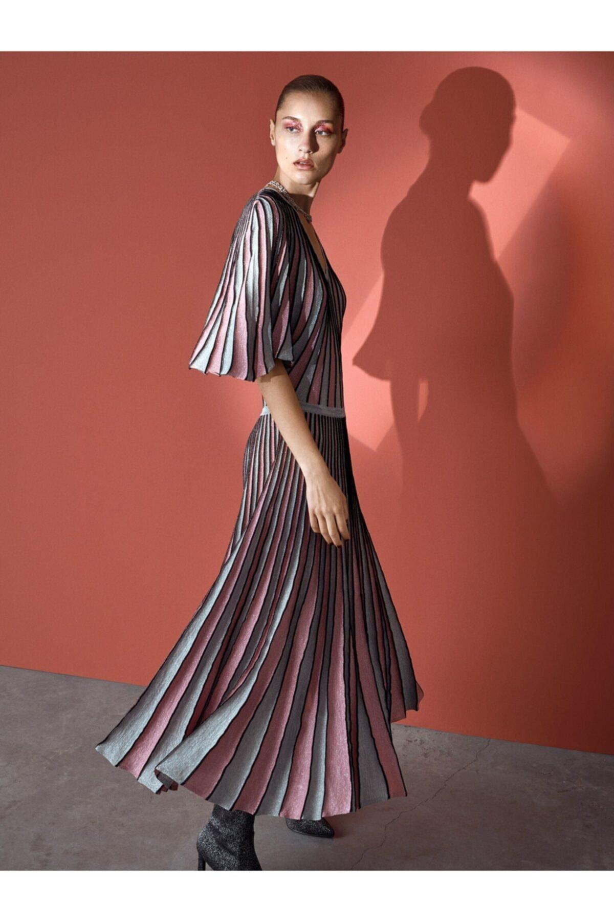 İpekyol Kadın Pembe Simli Örme Pilisole Elbise 1