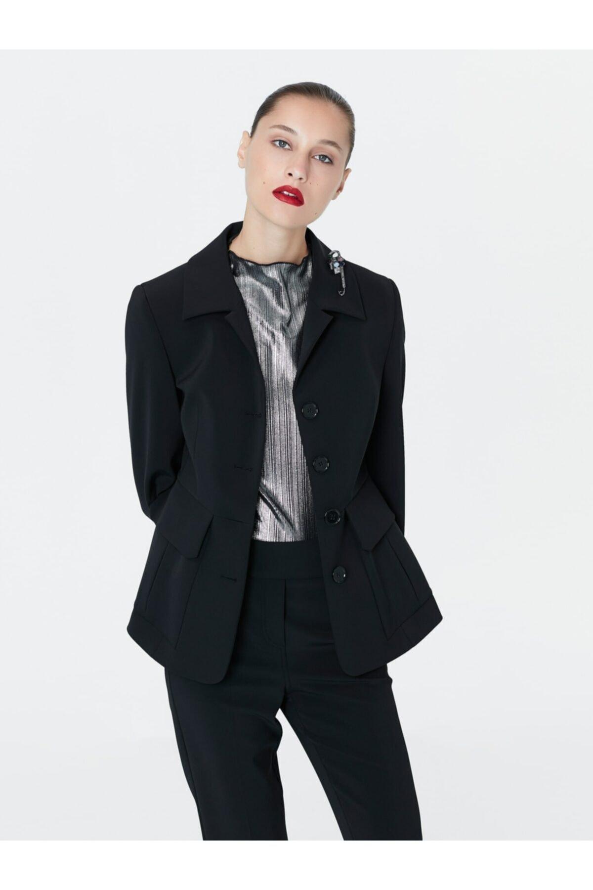 İpekyol Kadın Siyah Bel Vurgulu Ceket 1