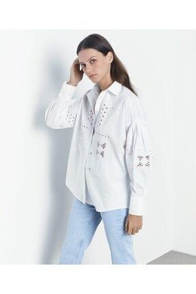 İpekyol Kadın Beyaz İş Detaylı Gömlek