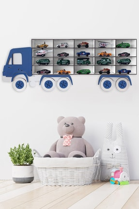 JB Bege Ahşap Dekoratif Çocuk-bebek Odası Oyuncak Kamyon Araba Rafı