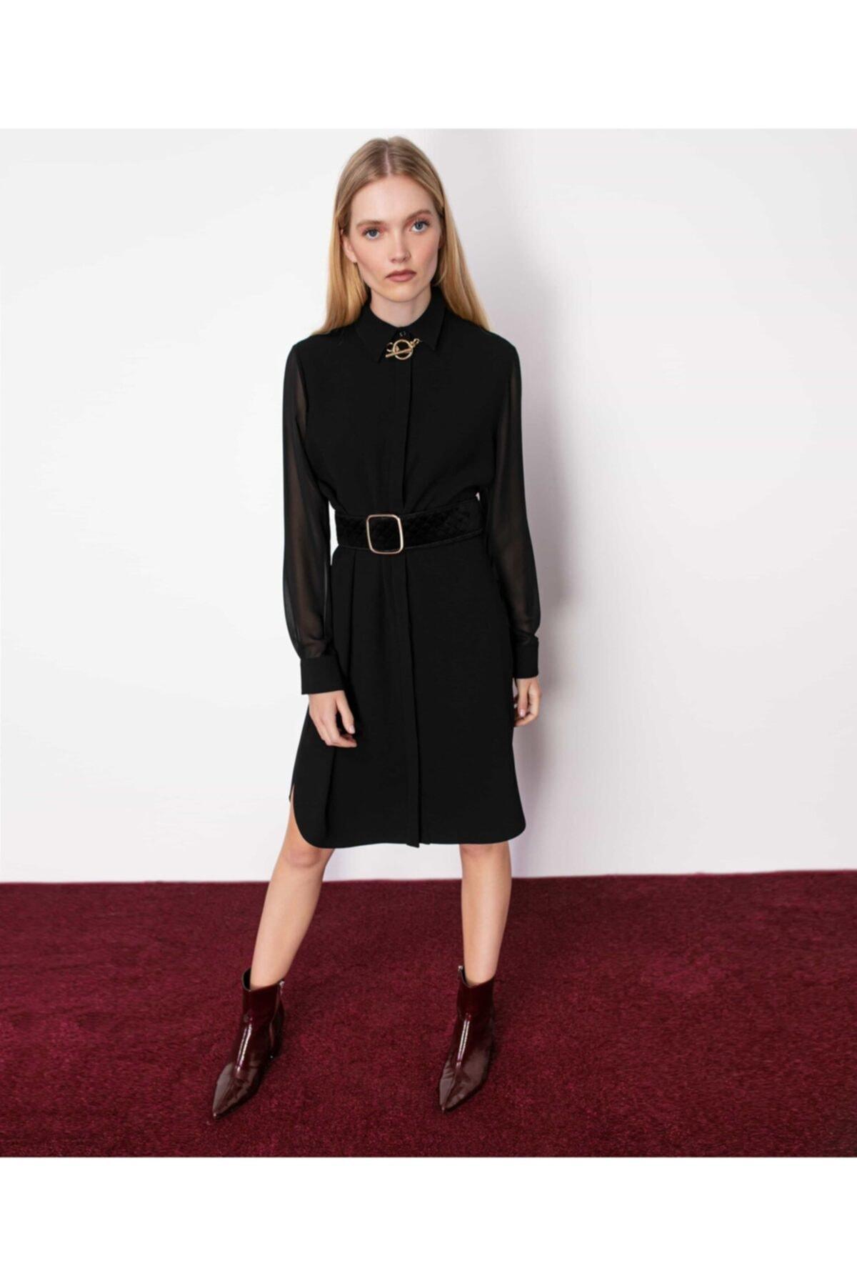 İpekyol Kadın Siyah Gizli Patlı Gömlek Elbise 1