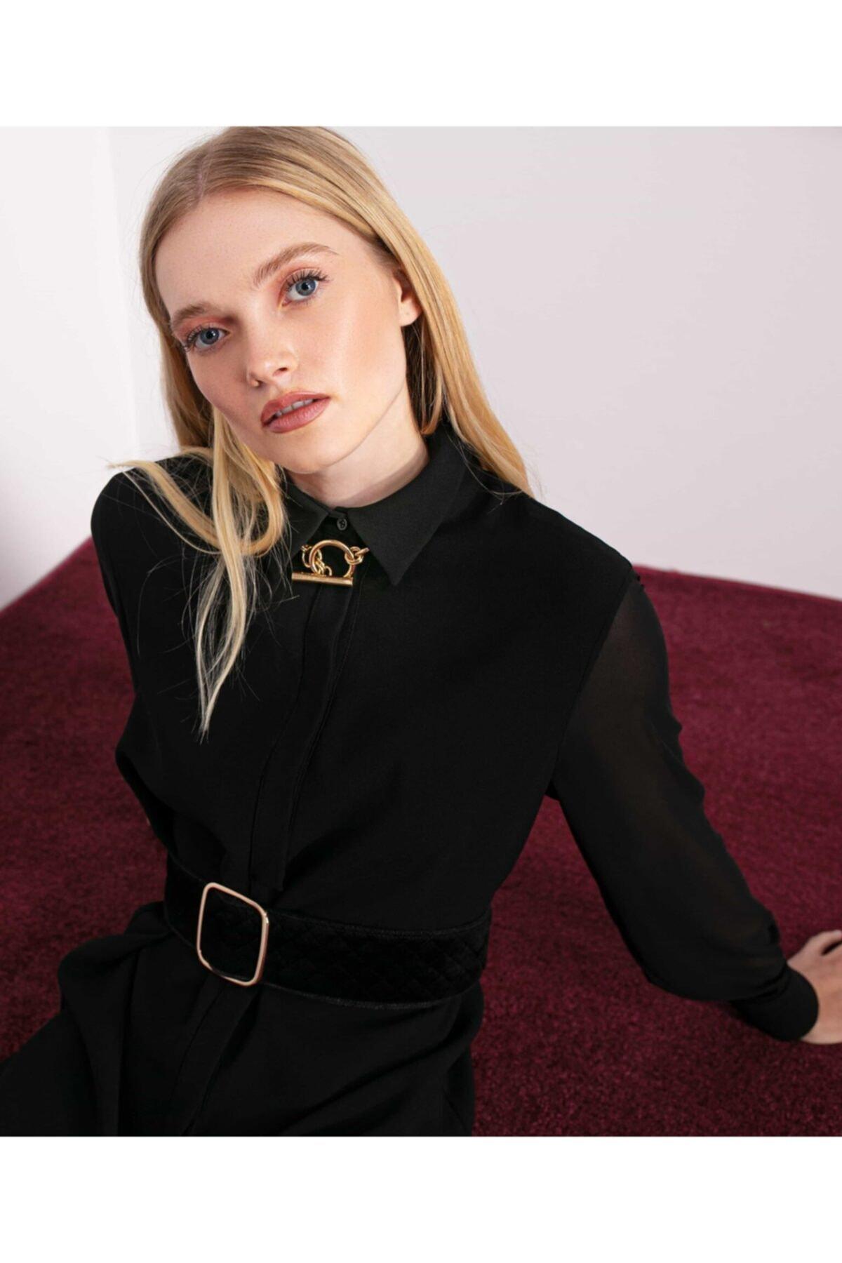 İpekyol Kadın Siyah Gizli Patlı Gömlek Elbise 2