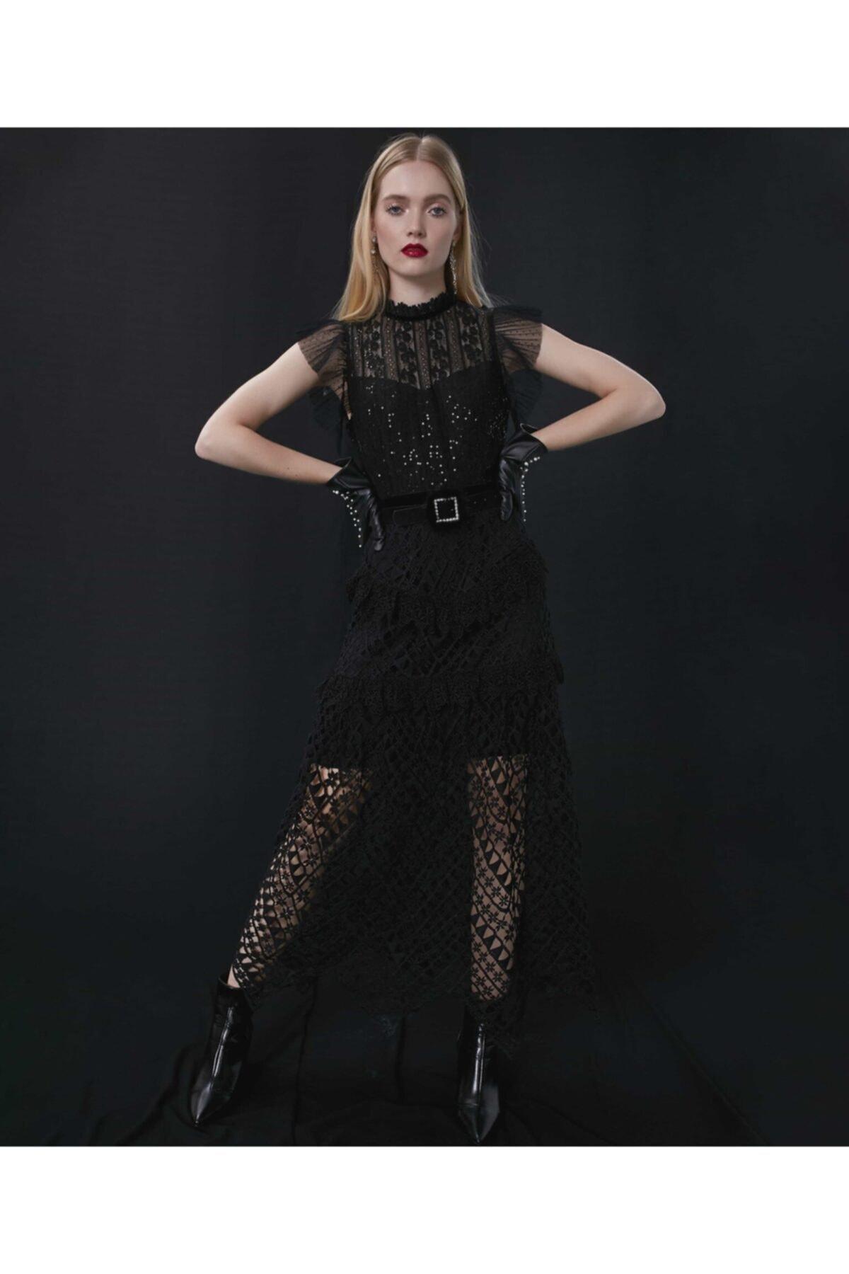 İpekyol Kadın Siyah Transparan Güpür Elbise 1