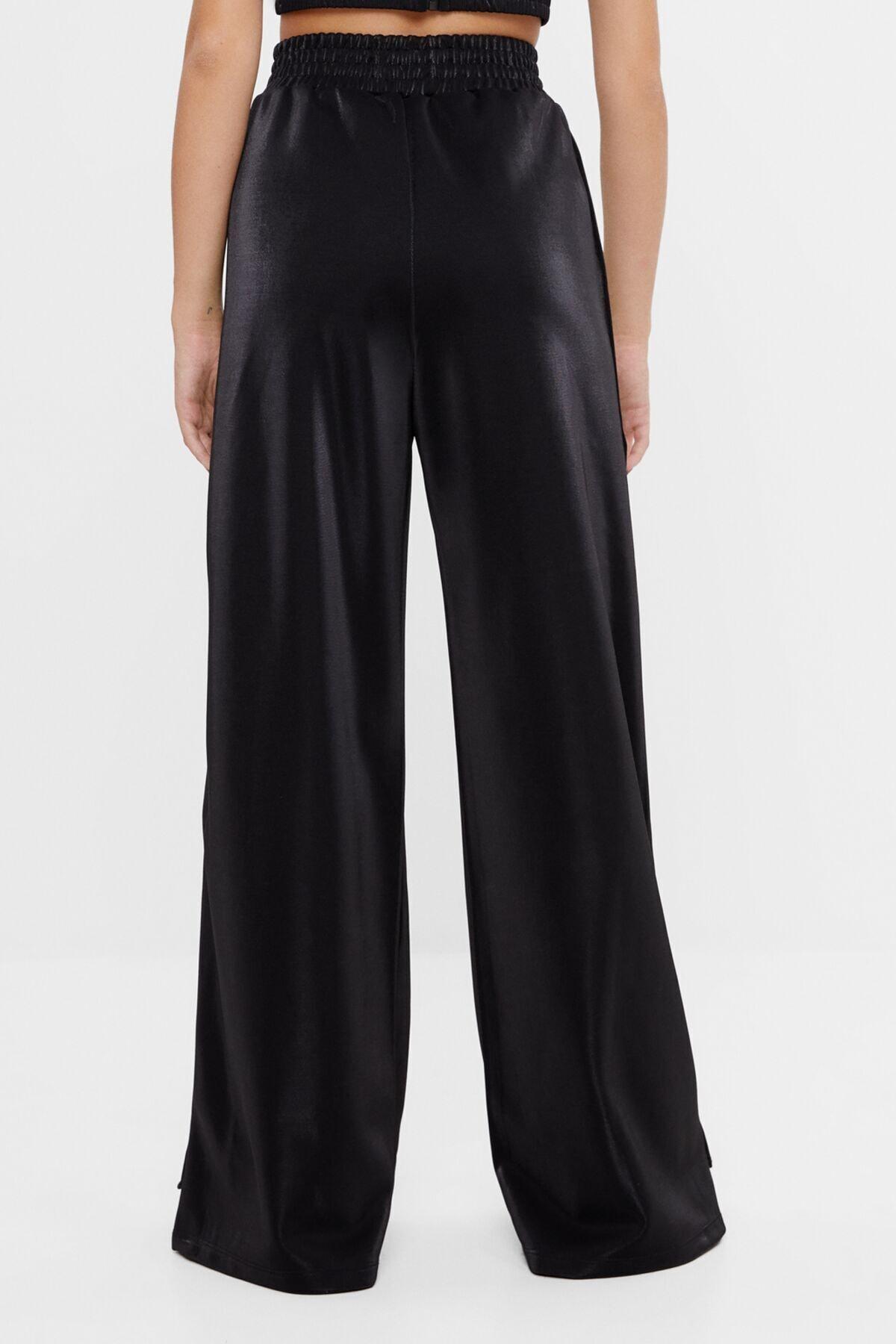Bershka Kadın Siyah Geniş Paça Metalik Pantolon 2