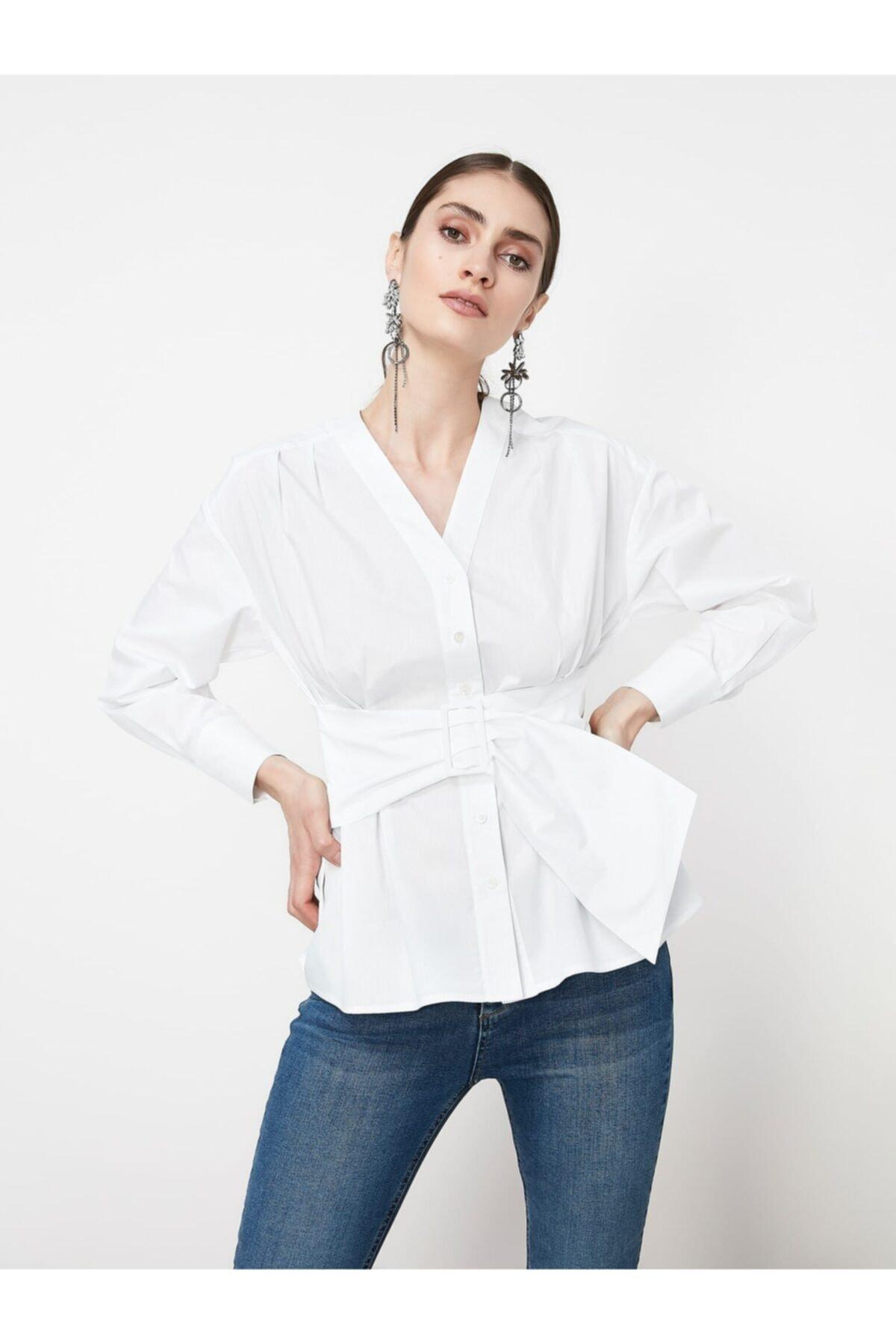 İpekyol Kadın Beyaz Bel Vurgulu Kuşaklı Bluz 2