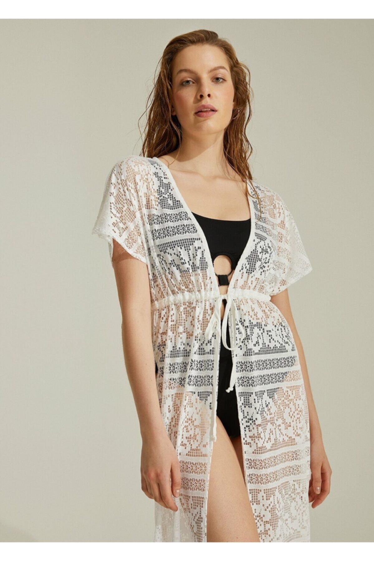 SUWEN Kadın Ekru Sunrise Plaj Elbisesi 2