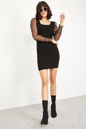Lafaba Kadın Siyah Kare Yakalı Kolları Tüllü Triko Elbise