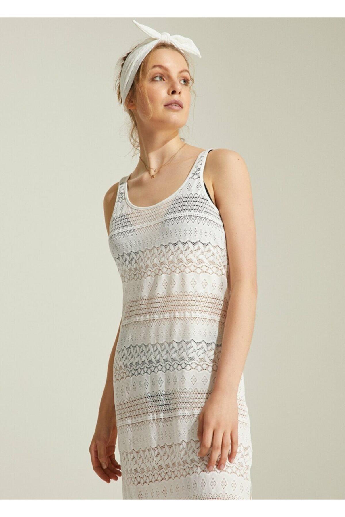 SUWEN Kadın Ekru Plaj Elbisesi 2