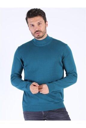 Twister Jeans Erkek Mavi Slim Fit Yarım Balıkçı Yaka Kazak 3624