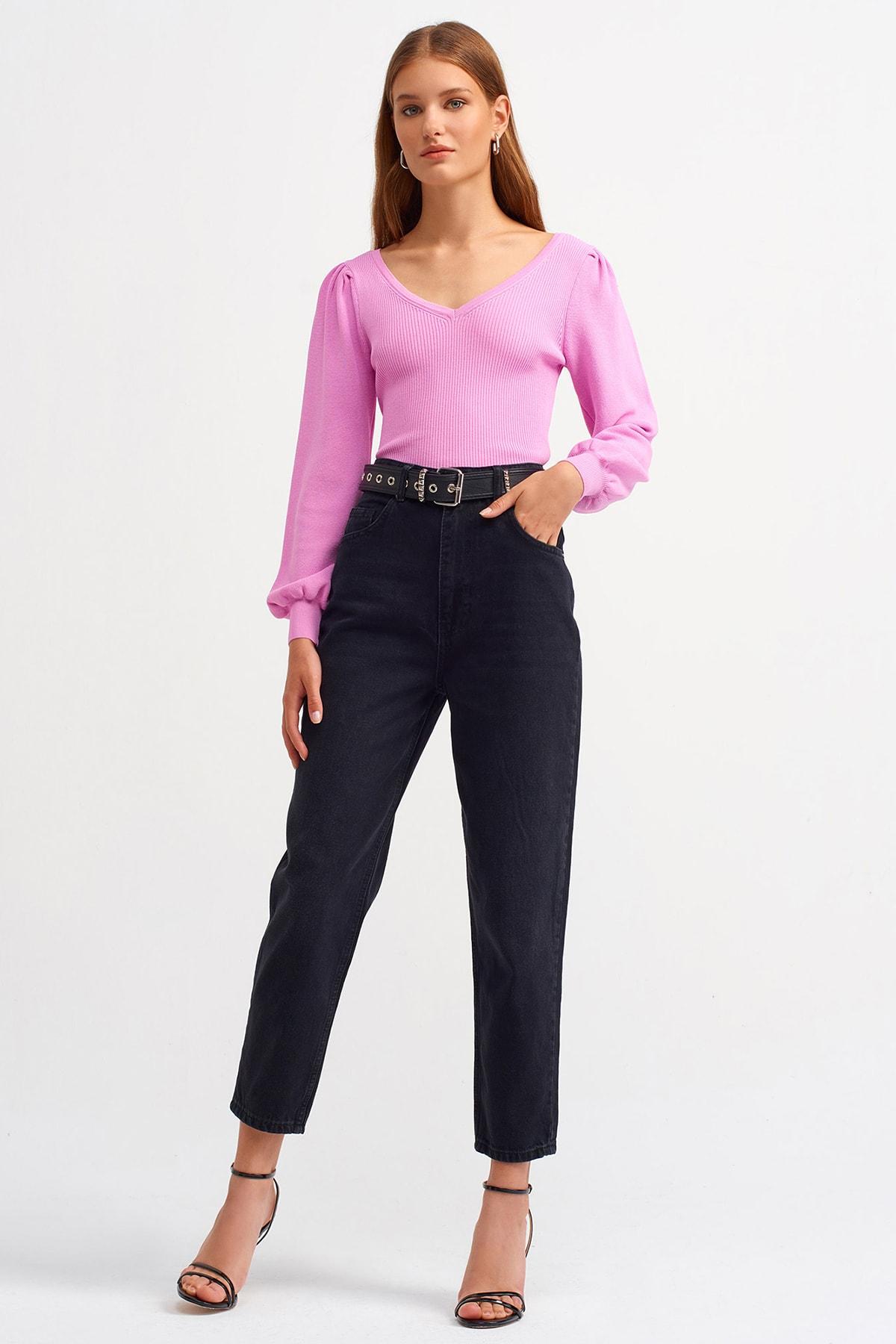 Dilvin Kadın Siyah Yüksel Bel Eskitmeli Mom Jeans 1