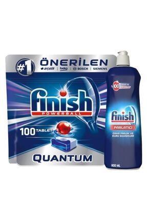 Finish Quantum 100 Tablet Bulaşık Makinesi Deterjanı Bulaşık Makinesi Parlatıcı 800 ml