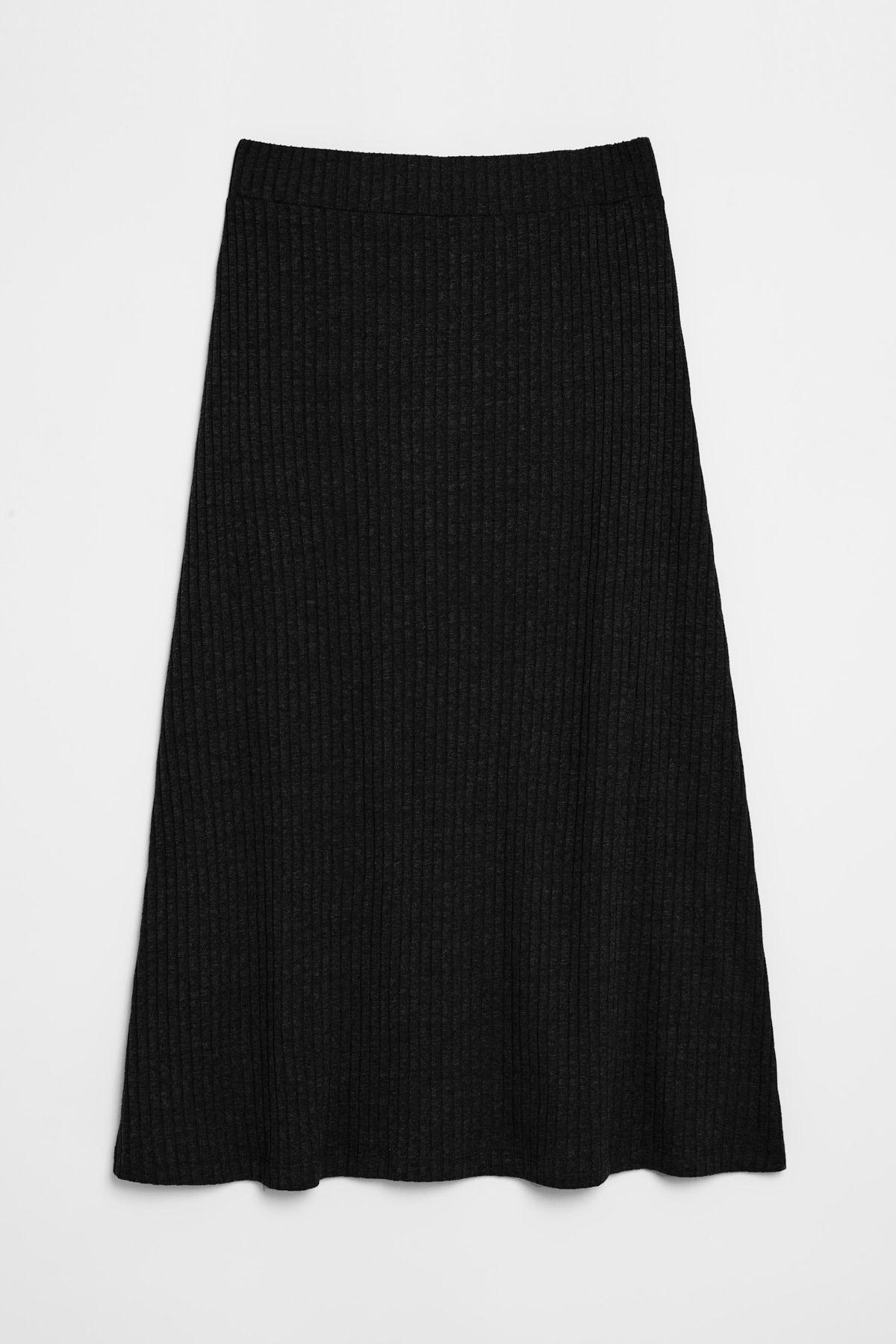 GRIMELANGE OLIVA Kadın Triko Görünümlü Önü  Düğmeli  Siyah Etek 2