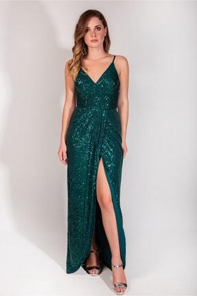 MAXXE Kadın Zümrüt Yeşili Payetli Elbise