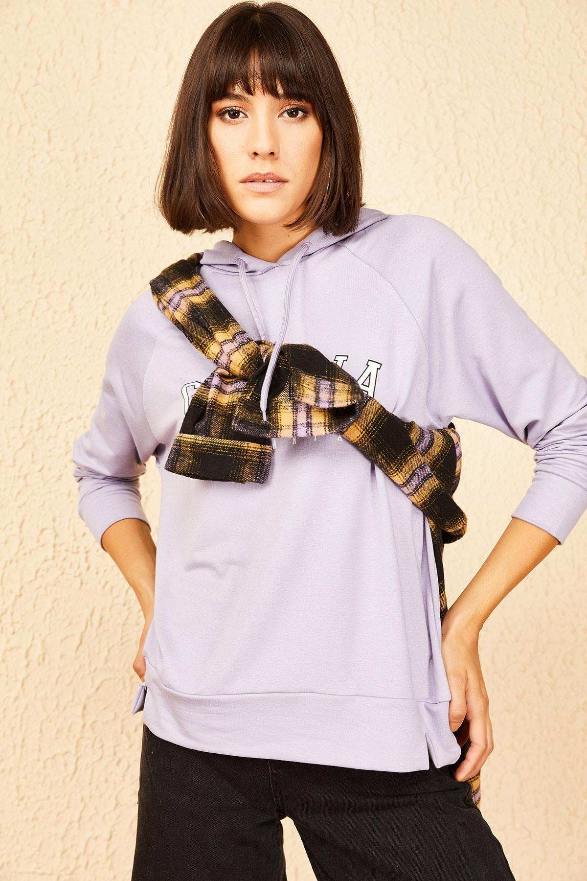 Bianco Lucci Kadın Lila Georgia Baskılı Kapüşonlu Sweatshirt 10141026 2