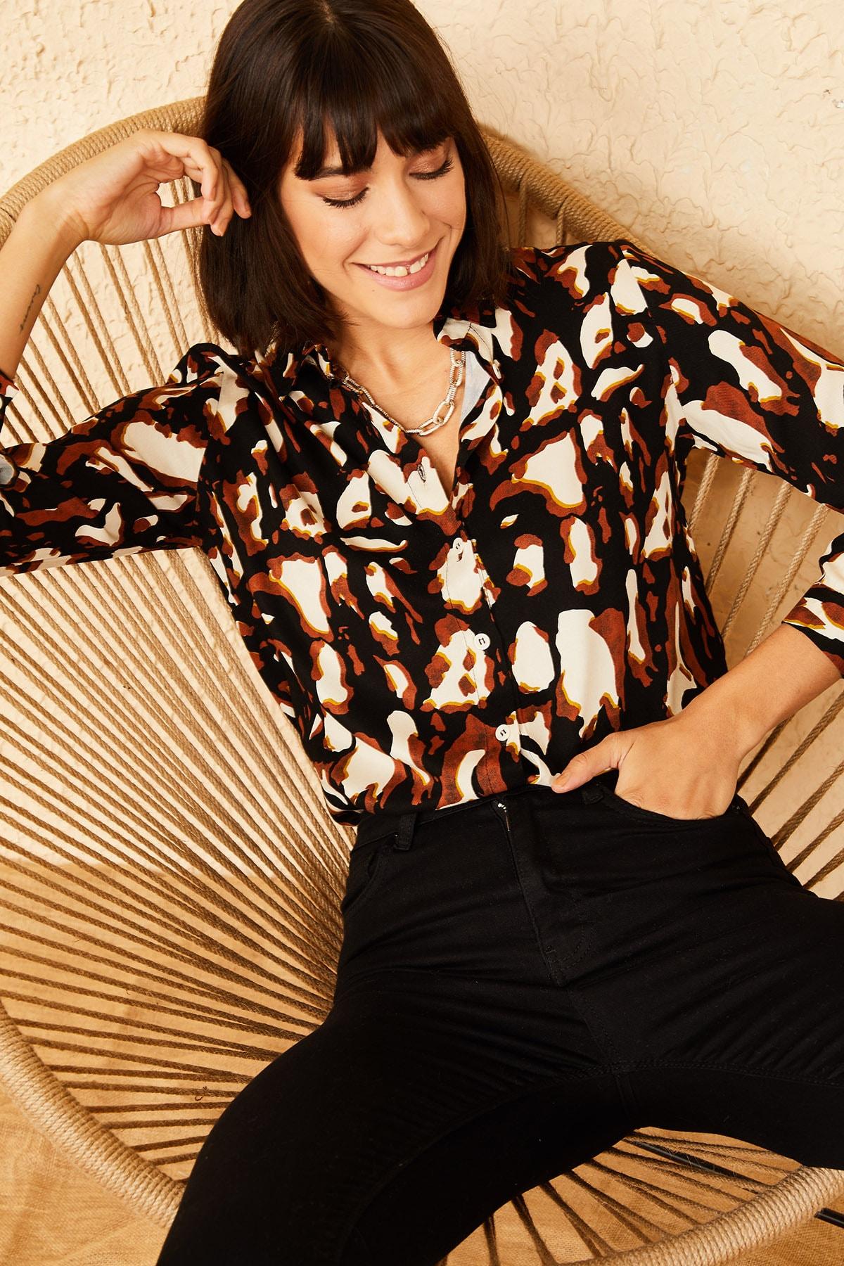 Bianco Lucci Kadın Siyah Desenli Gömlek 10141029