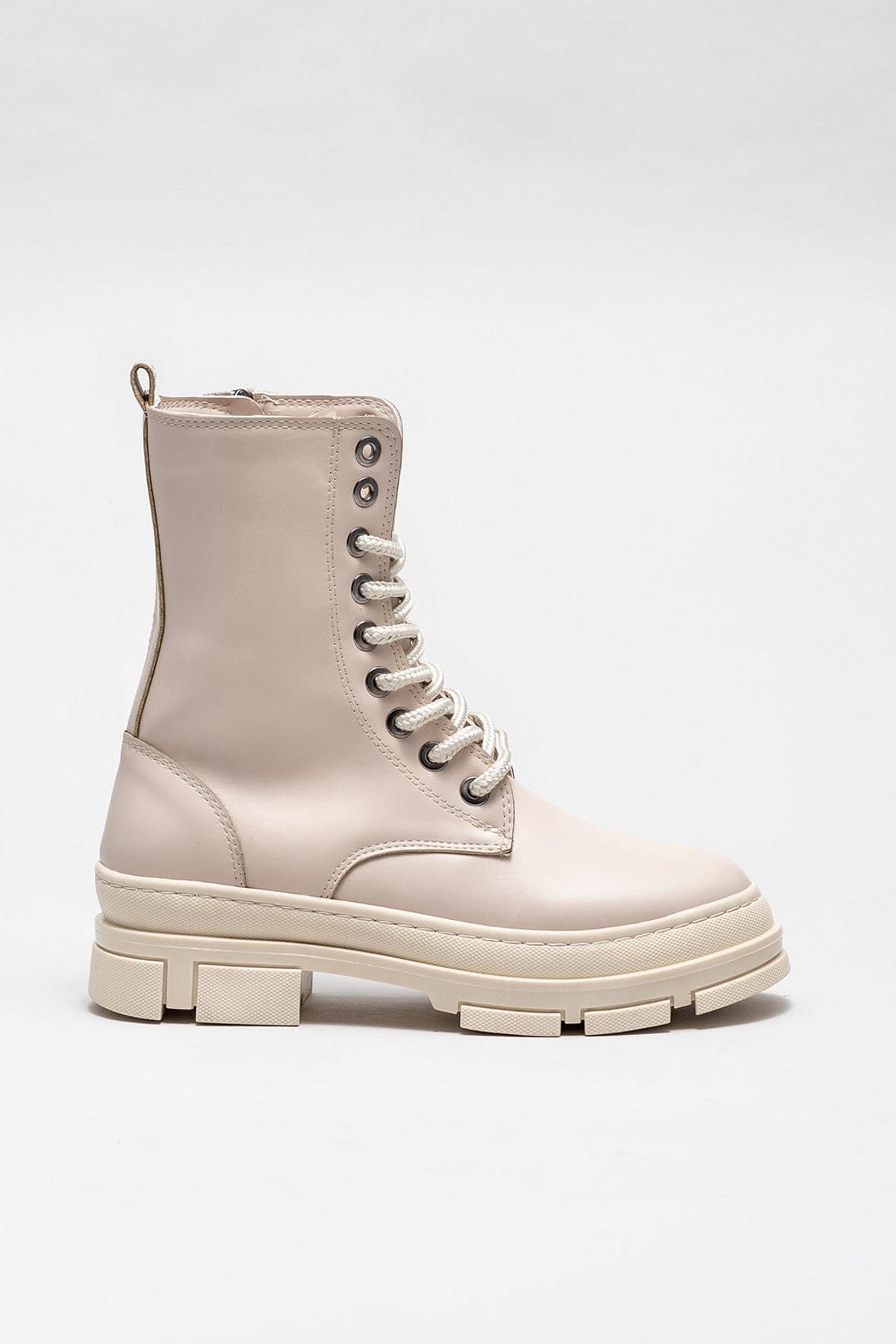 Elle Shoes Kadın Pompey Bej Bot & Bootie 20KAD3434-04 1