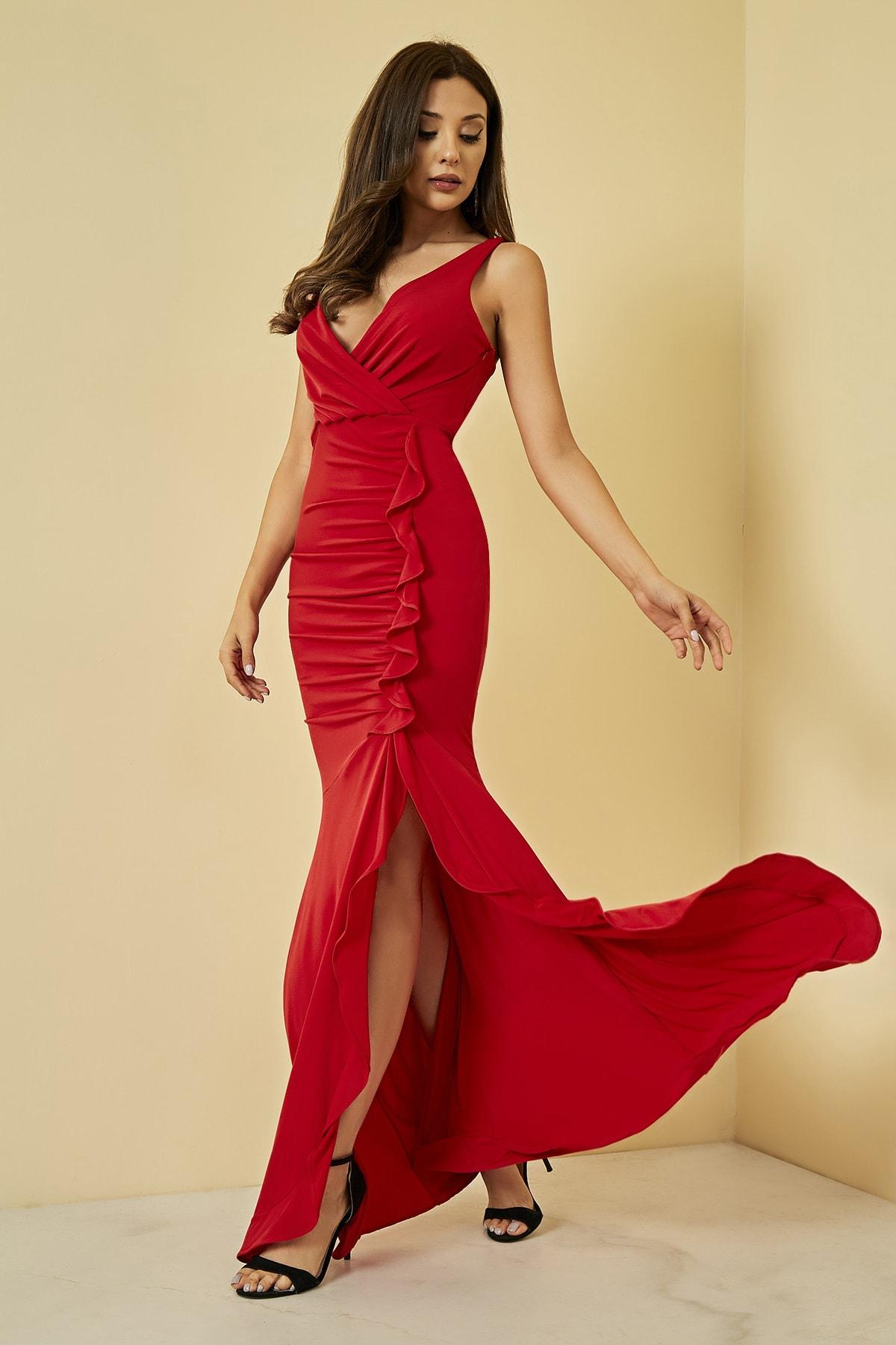 Sateen Kadın Kirmizi Fırfırlı Yırtmaçlı Uzun Abiye Elbise  STN107KEL120