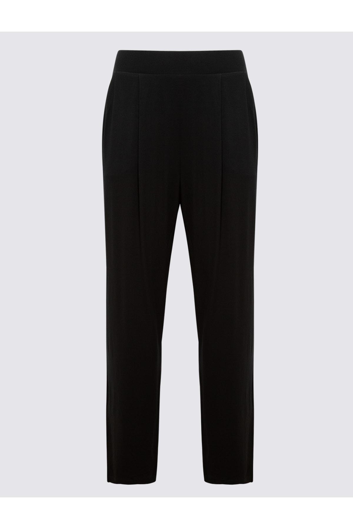 Marks & Spencer Kadın Siyah Jarse Tapered Pantolon T57006622H 1