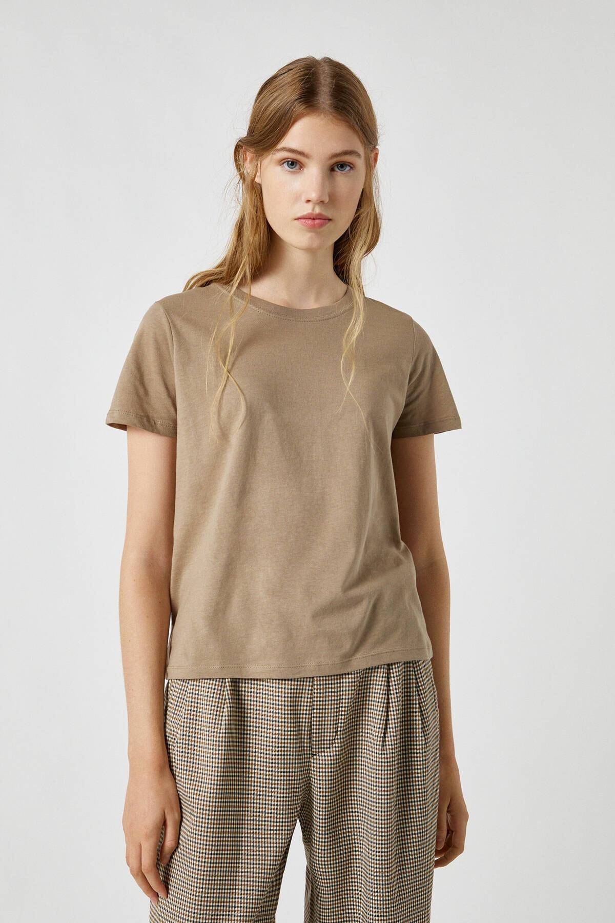 Pull & Bear Kadın Haki Basic Bisiklet Yaka T-Shirt 09247411