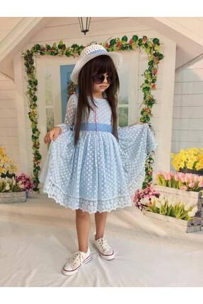 Buse&Eylül Bebe Mavi Şapkalı Tüllü Güpür Detaylı Kız Çocuk Elbisesi