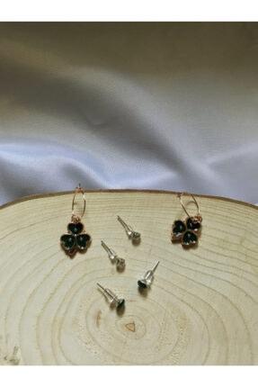 Accessories Siyah Yonca 6'lı Küpe Set