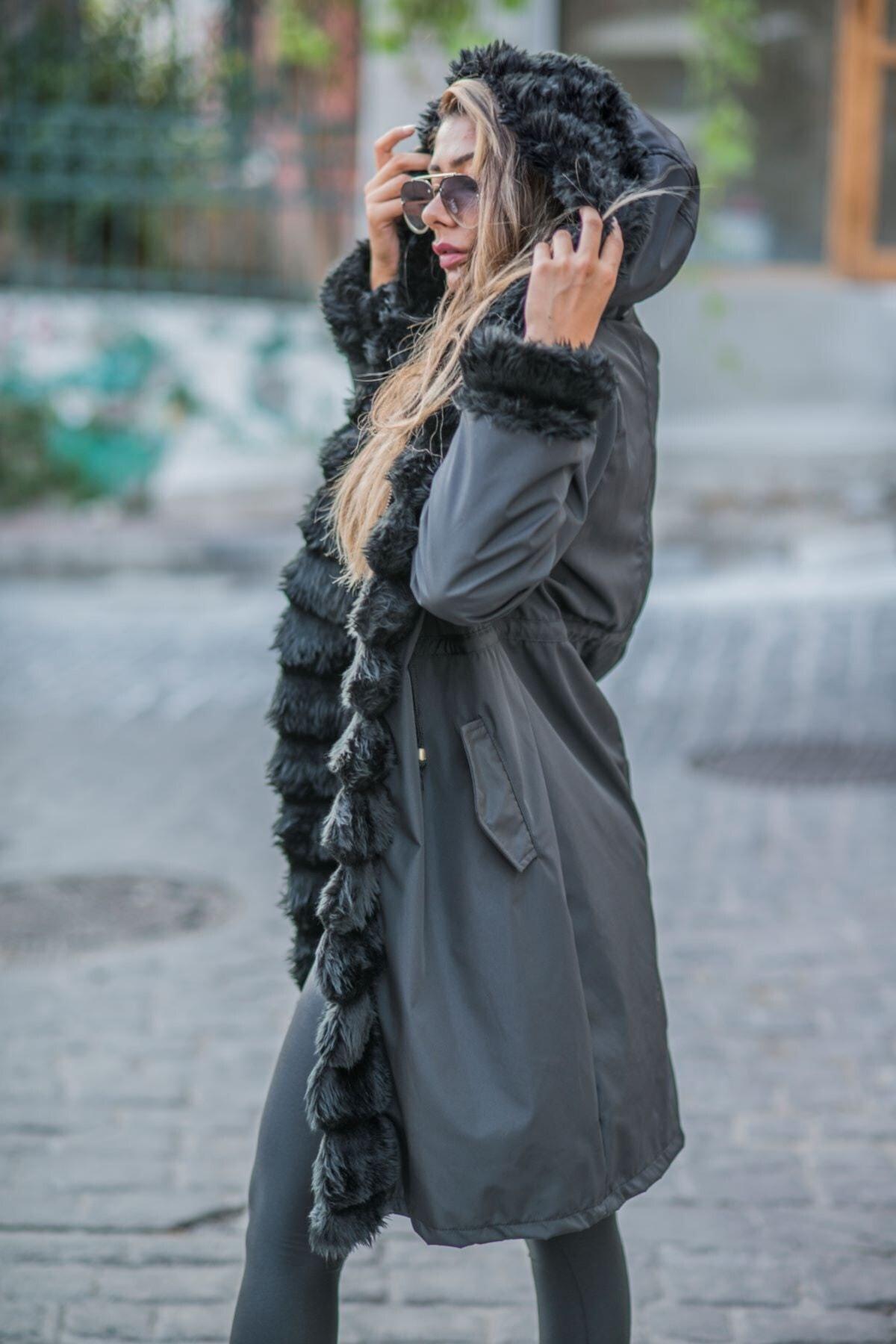 Keyifli Moda Kadın Siyah Su Geçirmez Içi Kürklü Kapüşonlu Kürk Yaka Kaban 2