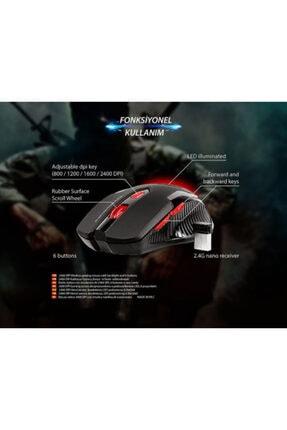 Everest Orıjınal Oyuncu Led Aydınlatmalı Kablosuz Mouse Kırmızı Siyah 6d 2400 Dpi 2.4 Ghz Usb