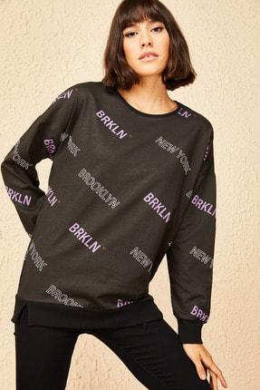 Bianco Lucci Kadın Lila Brooklyn Baskılı Oversize Sweatshirt