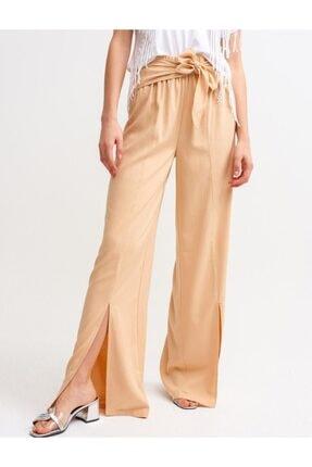 İpekçe  Kadın Bej Yırtmaç Detaylı Yüksek Bel Pantolon