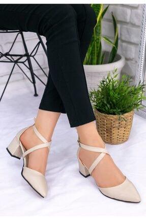 Erbilden Kadın Krem Keti Cilt Topuklu Ayakkabı