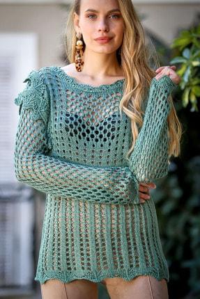 Chiccy Kadın Nil Yeşili Vintage Omuzları Ajurlu Tığ İşi Görünümlü Triko Bluz
