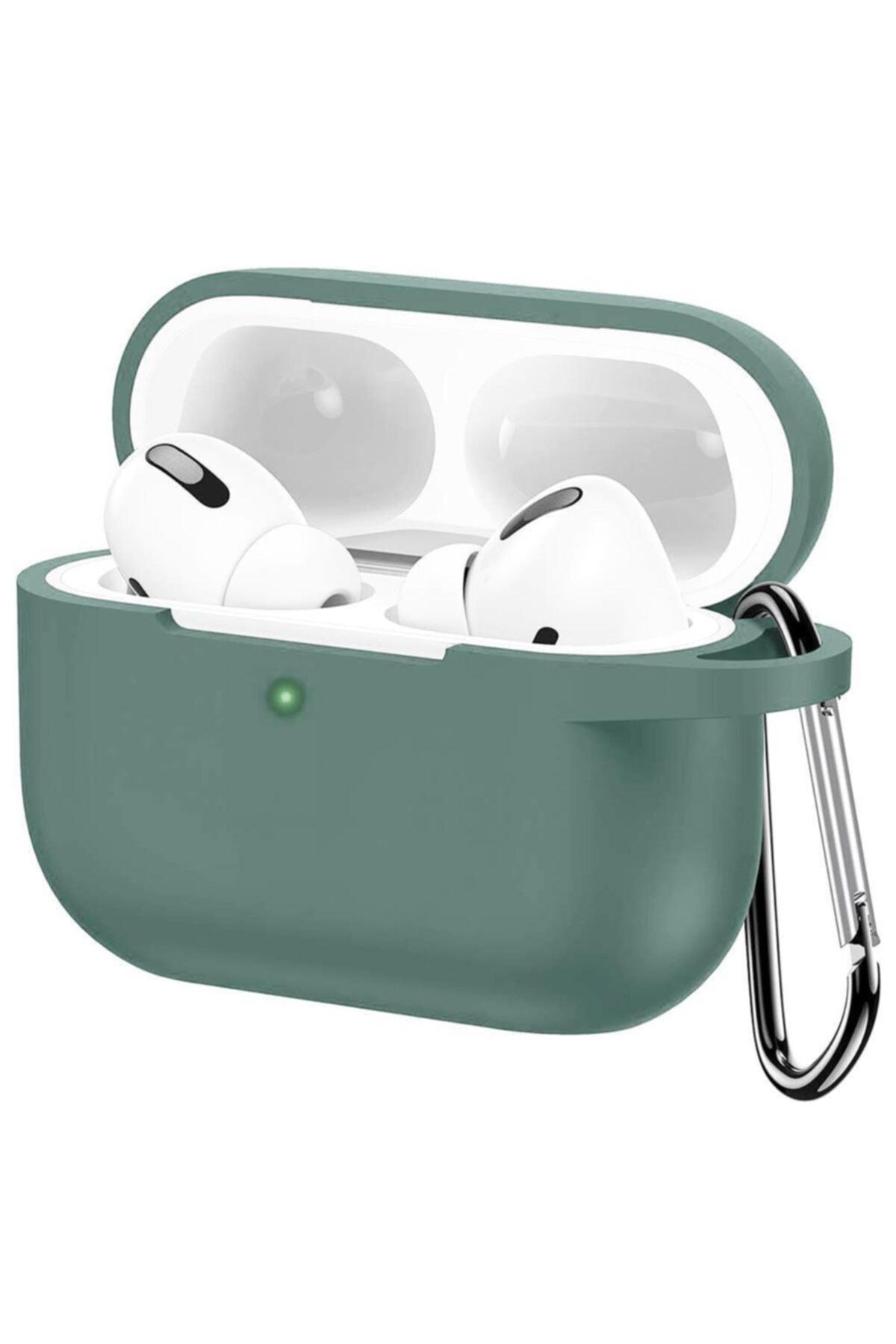 Cimricik Apple Airpods Pro Silikon Kılıf Mat Esnek Silikon 360 Tam Koruma Yeşil 1
