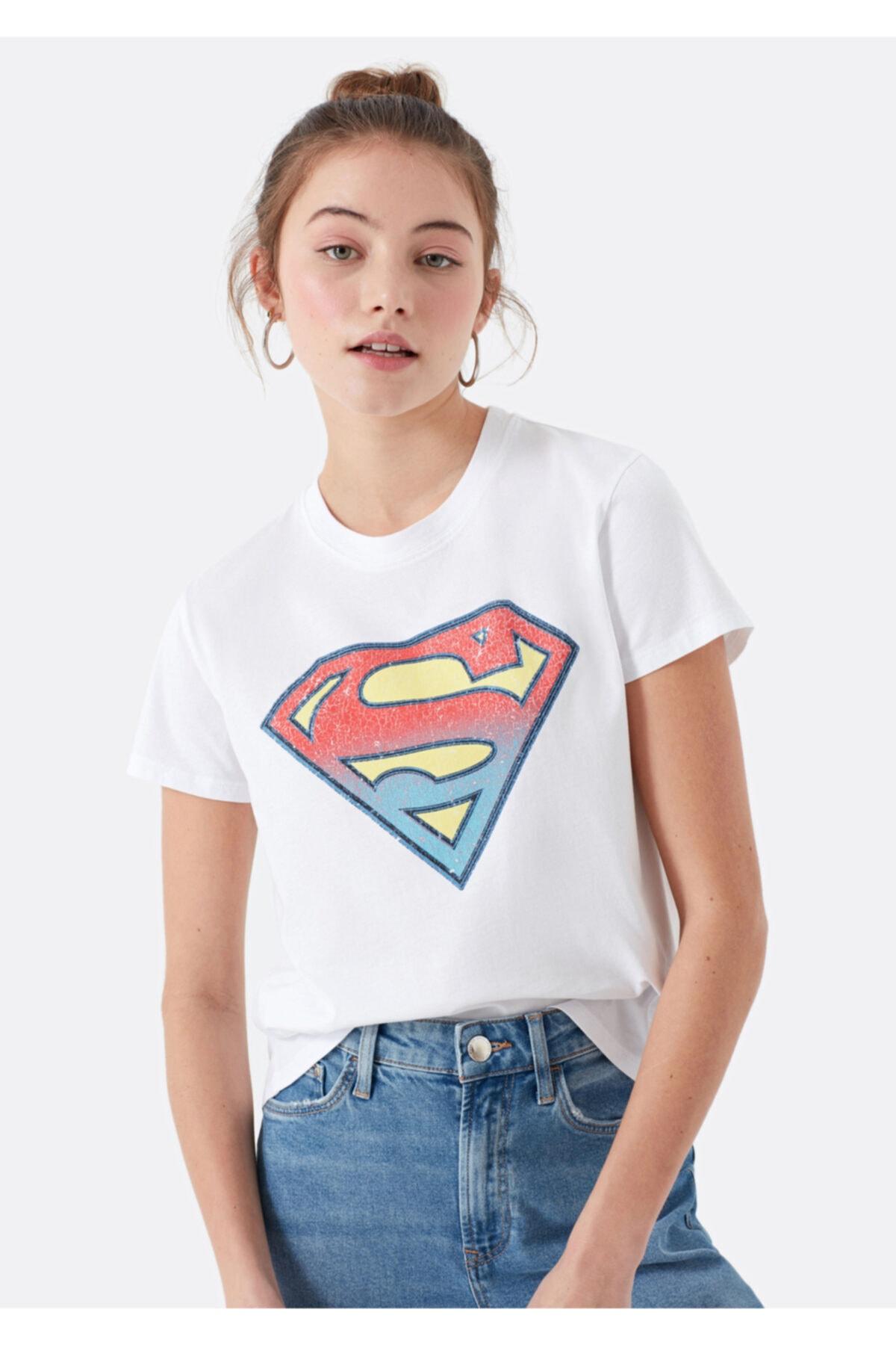 Mavi Kadın Beyaz Süperman Baskılı Tişört 168885-620 1