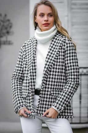 Chiccy Kadın Multi Retro Kaz Ayağı Desenli Tüvit Ceket
