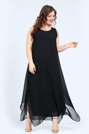 ANGELINO Kadın Siyah  Rahat Kesim Şifon Abiye T56905