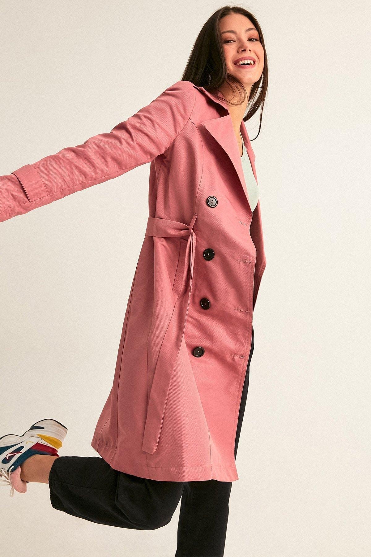 Fulla Moda Kadın Gül Rengi Uzun Basic Trençkot 1